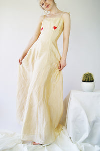 Silk 1990's Slip Dress With Heart Hand Painted Print - ULTRA-CAT