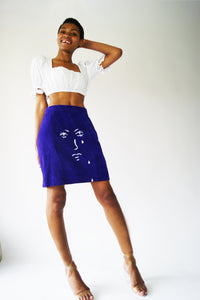 "Hand Painted REAL SUEDE 1970's Skirt With A ""Crying Face"" Print - ULTRA-CAT"
