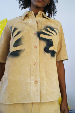 Suede Hand Panted Up-cycled Shirt - ULTRA-CAT