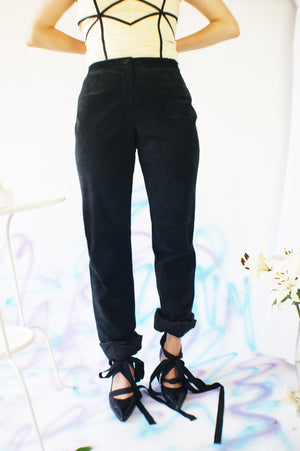 Suede High Waisted Pants - ULTRA-CAT