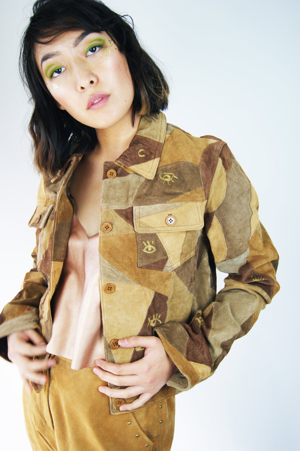 Vintage Patchwork Suede Jacket With Eyes Pain - ULTRA-CAT