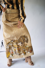 Suede Skirt With Renaissance Painting - ULTRA-CAT