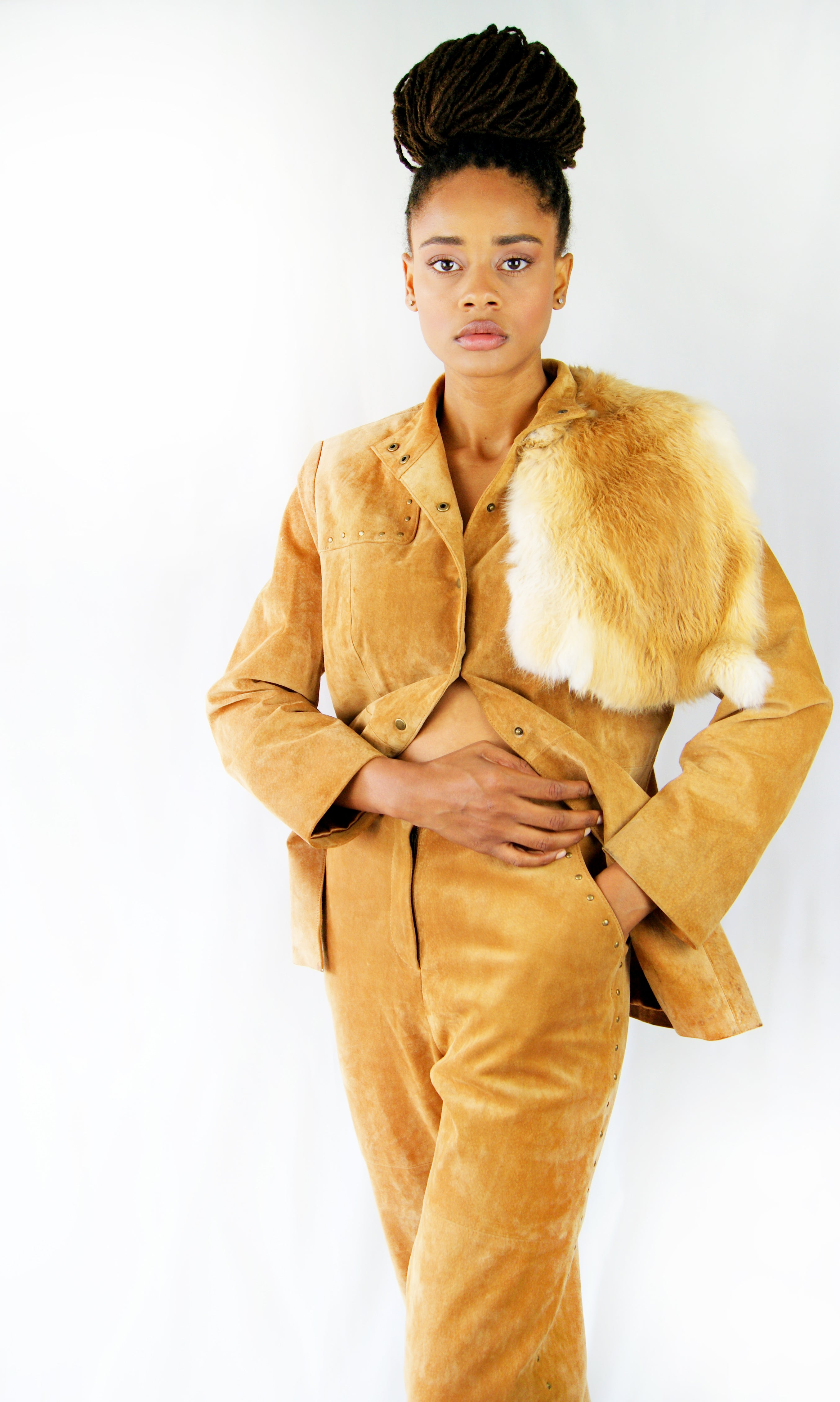 Vintage 1970's Western Style Cowboy REAL Suede Suit with REAL Fox Fur, Similar to the Christian Dior 2018 Resort Cruise - ULTRA-CAT