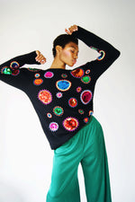 Vintage 1980's Embroidered Sweater With Sequins - ULTRA-CAT