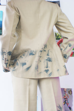 Three Piece French Suit With Faces Hand Painting - ULTRA-CAT