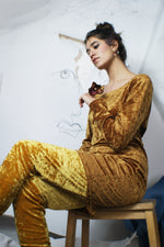 Vintage Golden Velvet Two Piece Set - ULTRA-CAT