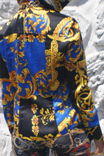 Silk 80's Rich Print Silk Blouse With A Scarf