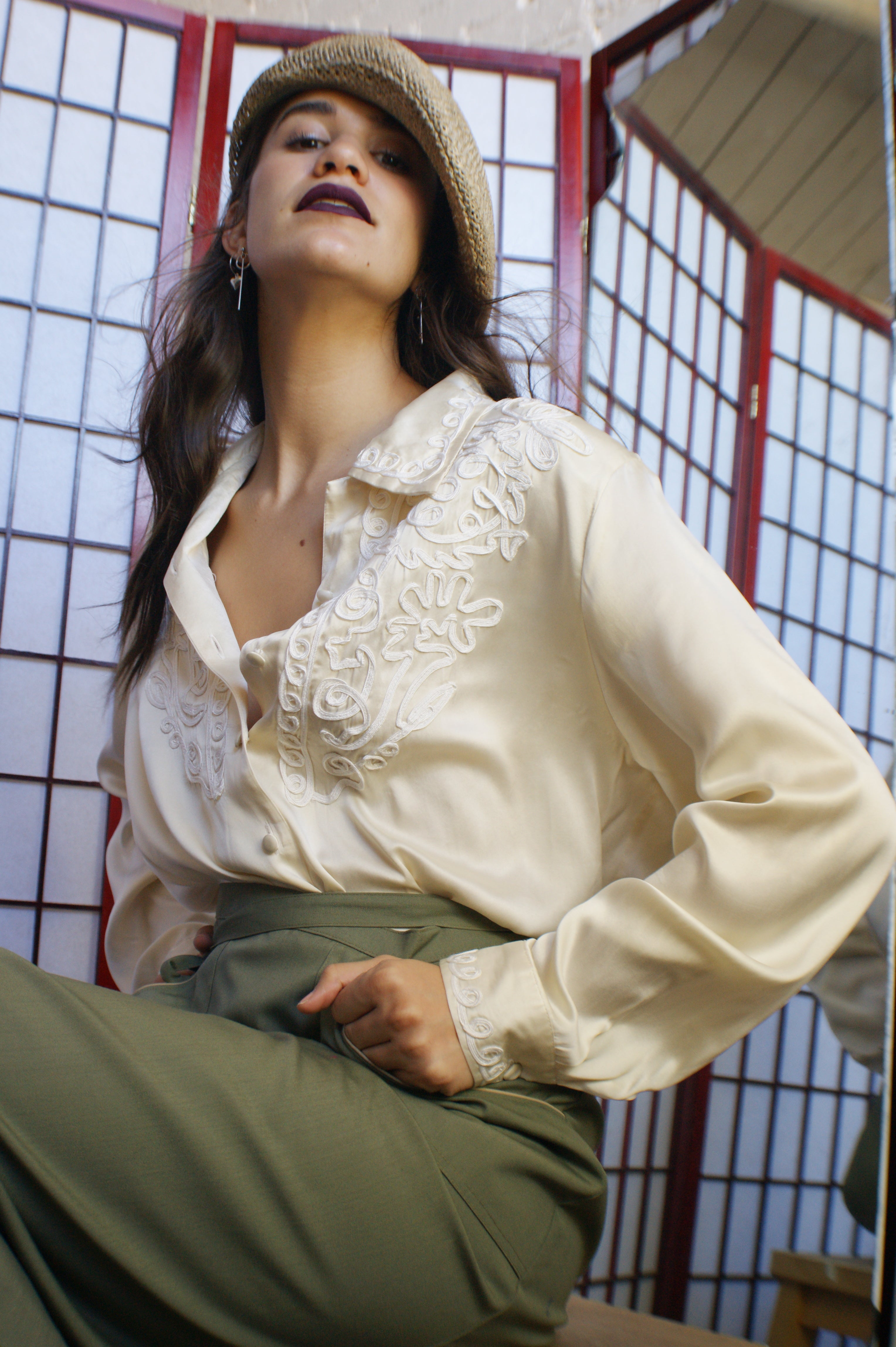 White Silk Embroidered Blouse - ULTRA-CAT