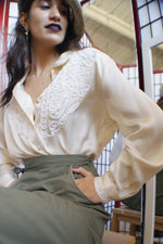White Silk Embroidered Blouse