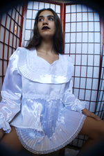Unique Church Puffy Sleeves White Satin Blouse - ULTRA-CAT