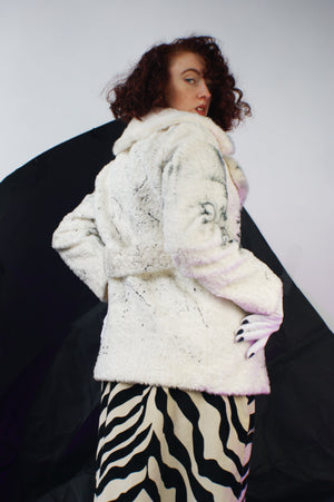Unique Faux Fur Jacket With Hand Painting - ULTRA-CAT