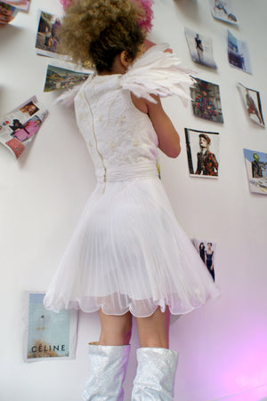 Vintage White Sequined Chiffon Dress - ULTRA-CAT