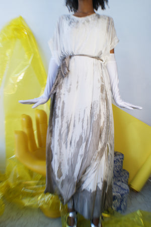 Hand Dyed White Silk Dress - ULTRA-CAT