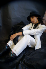 Vintage White Suit With Black Piping
