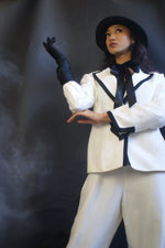 Vintage White Suit With Black Piping - ULTRA-CAT
