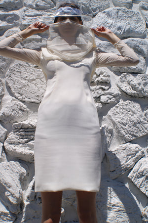 White Dress With Attached Silk Scarf