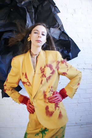 Unique Tie Dye Yellow Suit
