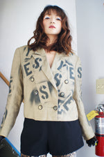 """Yes-No"" Vintage Hand Painted Linen Jacket - ULTRA-CAT"