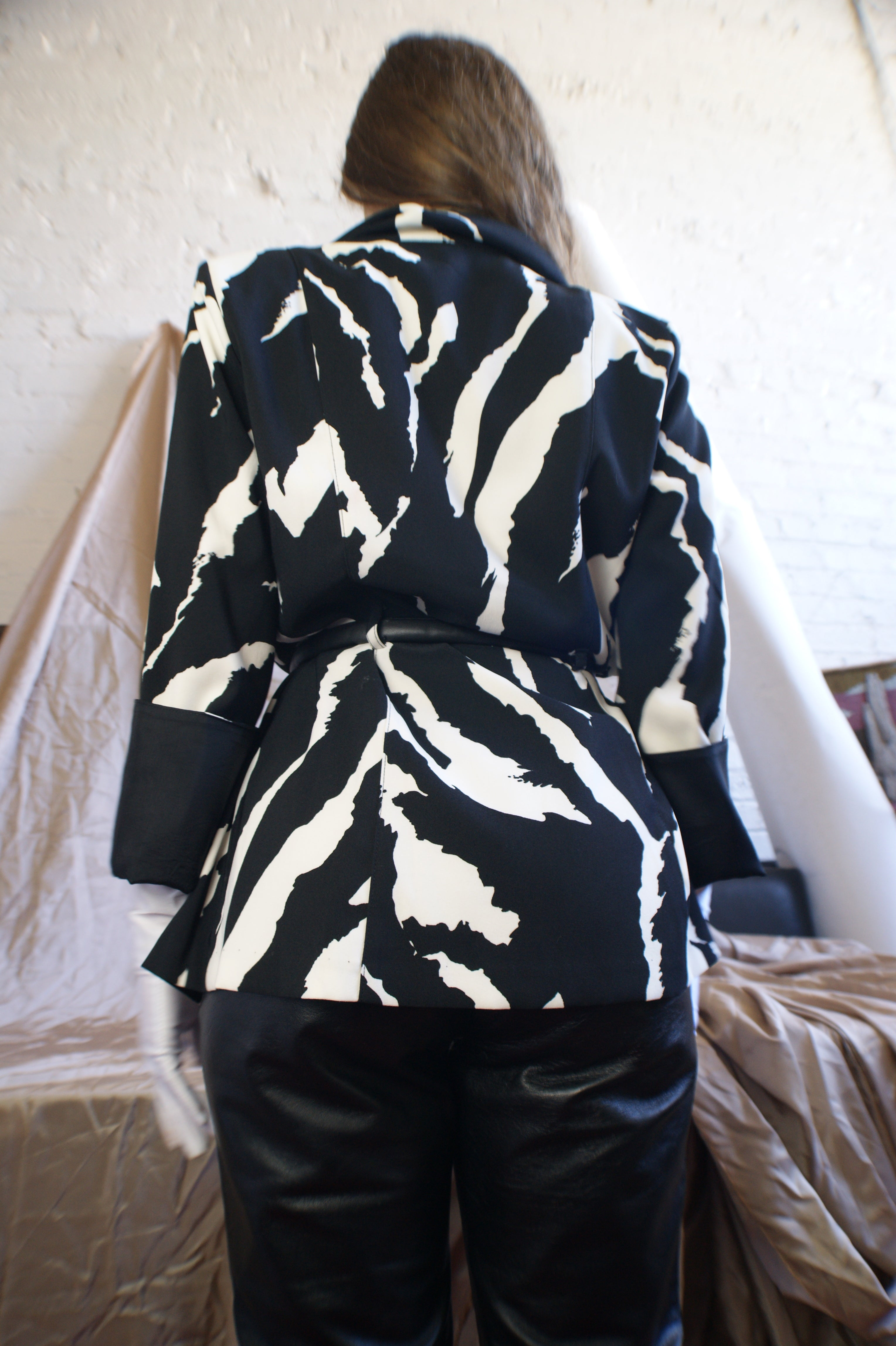 Zebra Blazer With Leather Belt - ULTRA-CAT