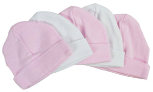 Pink & White Baby Caps (Pack of 5)
