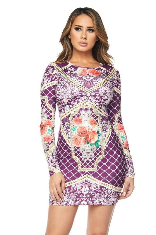 Flower Printed Long Sleeves Midi Dress  ID:JVD50044
