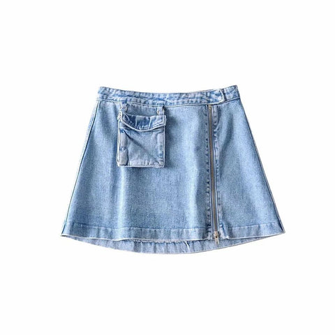 Zipper Pocket High Waist Denim Skirt