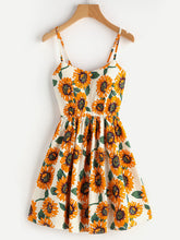 Load image into Gallery viewer, Random Sunflower Print Crisscross Back A Line Cami