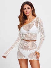Load image into Gallery viewer, Off Shoulder Scallop Trim Open Knit Cover Up