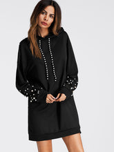 Load image into Gallery viewer, Pearl Beaded Detail Sweatshirt Dress