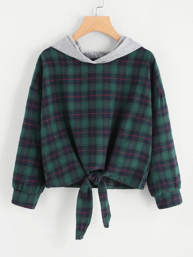Knot Front Checked Hooded Sweatshirt