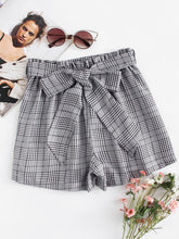 Self Tie Waist Plaid Shorts