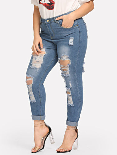 Plus Ripped Roll-Up Jeans