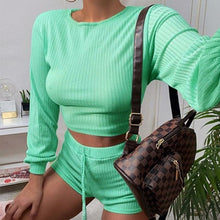 Women Solid Long Sleeve Crop Top and Shorts Two-piece Set