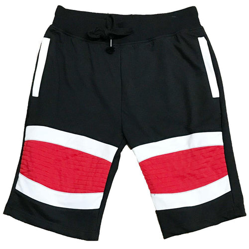Red Stripe Moto Shorts