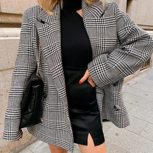 Vintage Plaid Long Sleeve Blazer Jacket Coat
