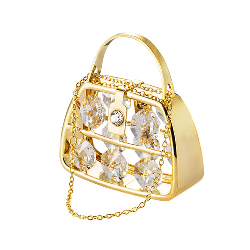 24K gold plated purse with Swarovski crystal element