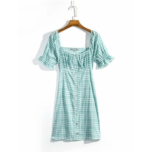Off the Shoulder Plaid Mini Summer Dress Women