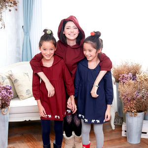 (Mommy & Girl Matching Dress) Deer Hooded Fit &