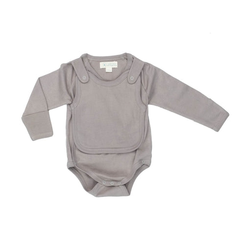 Smart Long Sleeve Kimono Bodysuit + Bib - Gray