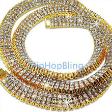 Load image into Gallery viewer, 3 Rows of Ice Gold Iced Out Chain