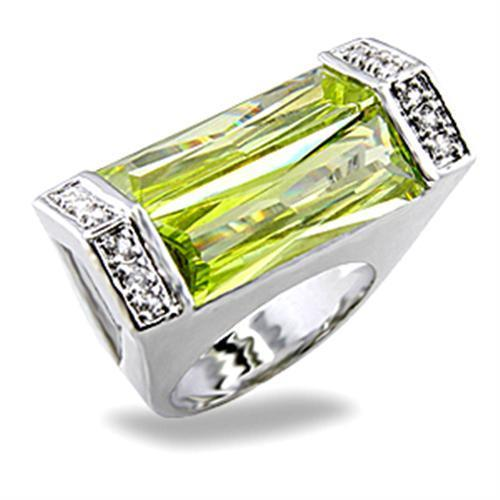 5X006 Rhodium Brass Ring with Synthetic in Peridot