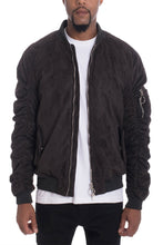 Load image into Gallery viewer, FAUX SUEDE BOMBER- BLACK