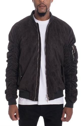 FAUX SUEDE BOMBER- BLACK