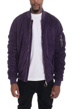 Load image into Gallery viewer, FAUX SUEDE BOMBER- PLUM