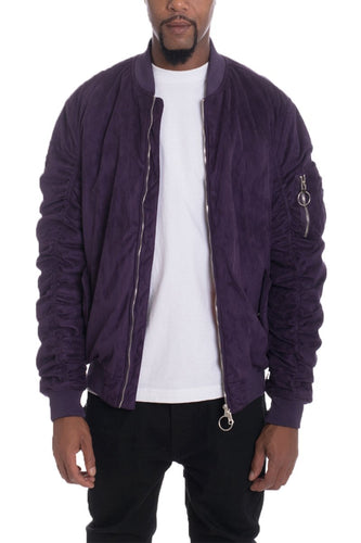 FAUX SUEDE BOMBER- PLUM