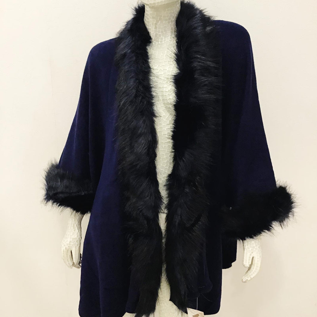 'Irina' Navy Faux Fur Elegant Coat