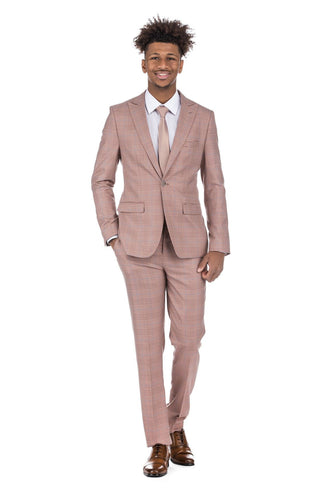 2-piece Burgundy Checkered Men's Slim Fit Suit