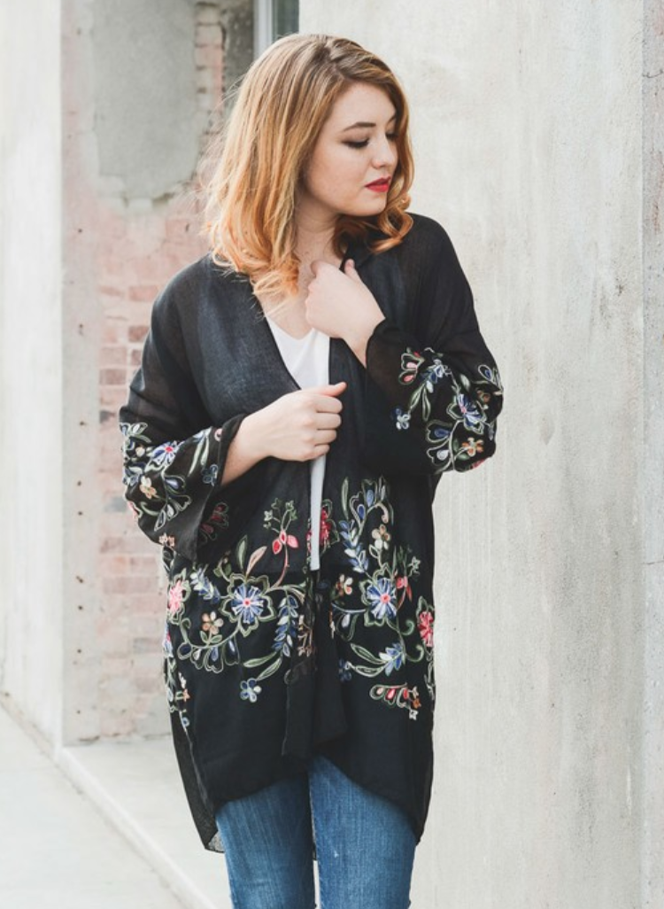 Beautiful Long Black Floral Kimono