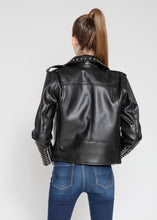 Load image into Gallery viewer, Women's Vegan Star Studded Black Moto Style Faux Leather Jacket