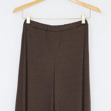 Elastic Waist Wide Leg Pants Brown